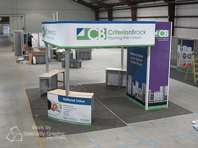 Trade show display with counter.