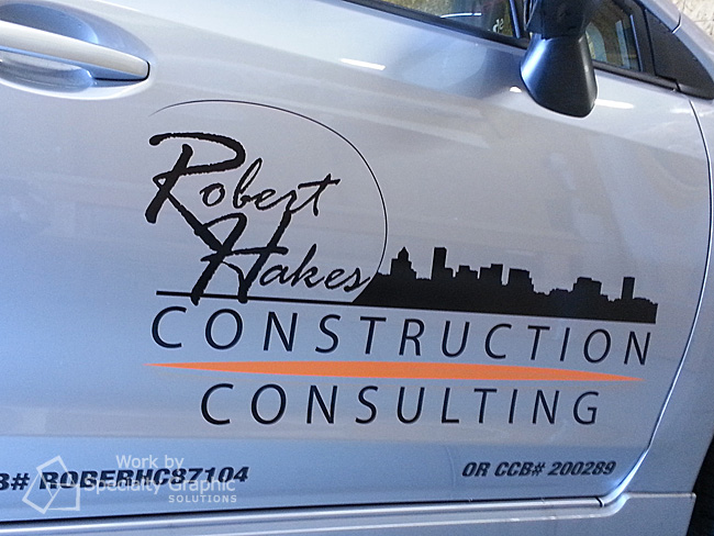 Cut vinyl door lettering and logo for Robert Hakes Construction.
