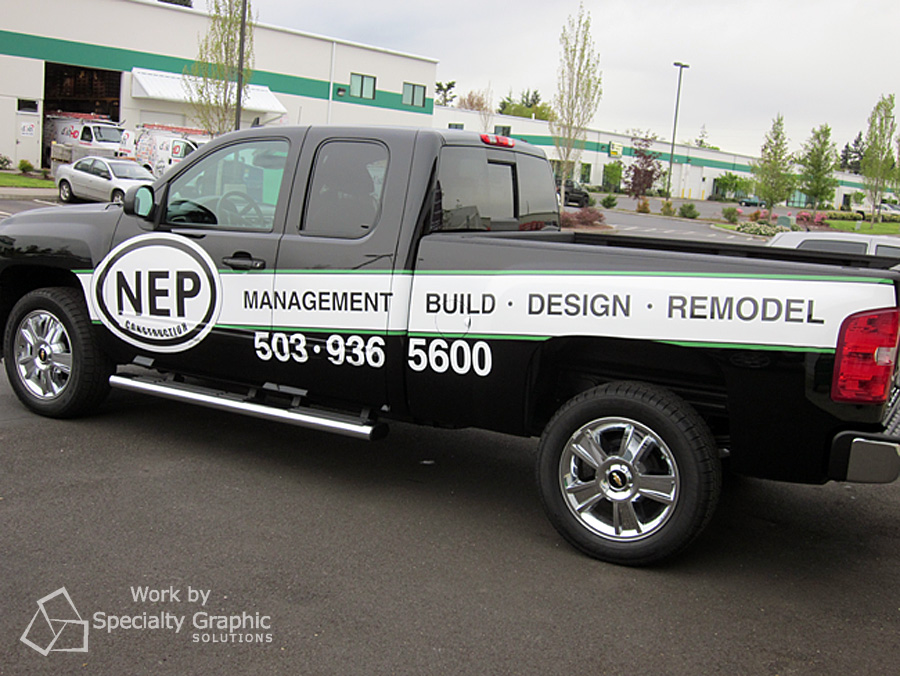 Partial truck wrap for contractor NEP.