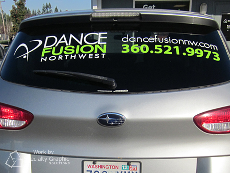 Lettering and logo on back window for Dance Fusion.