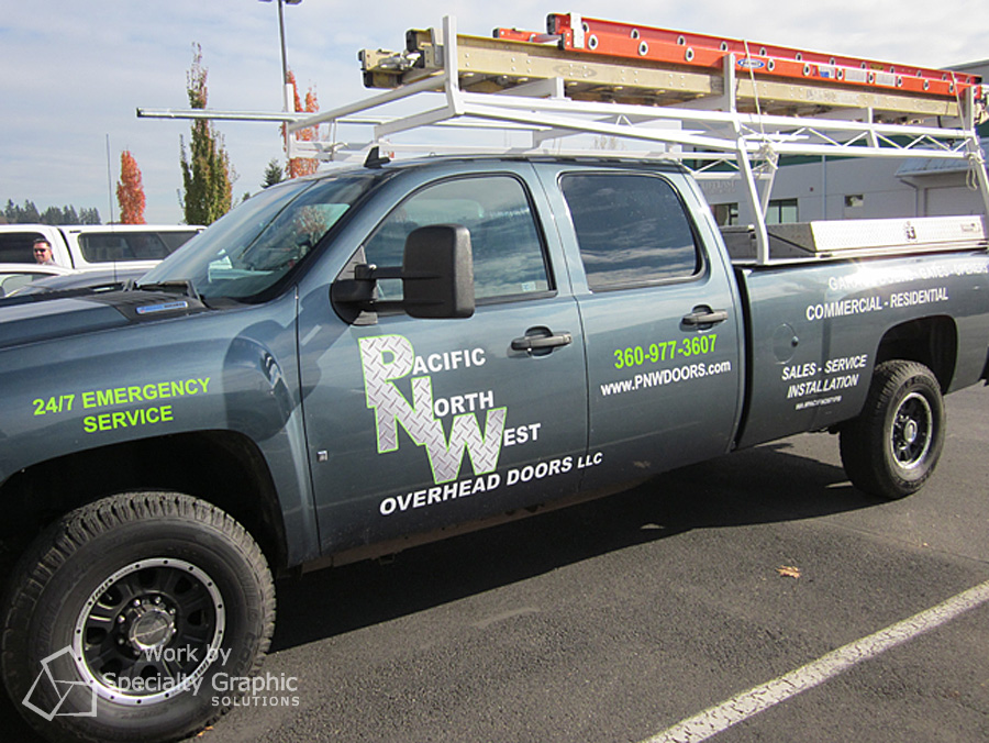 Truck graphics Pacific Northwest Overheard Doors.