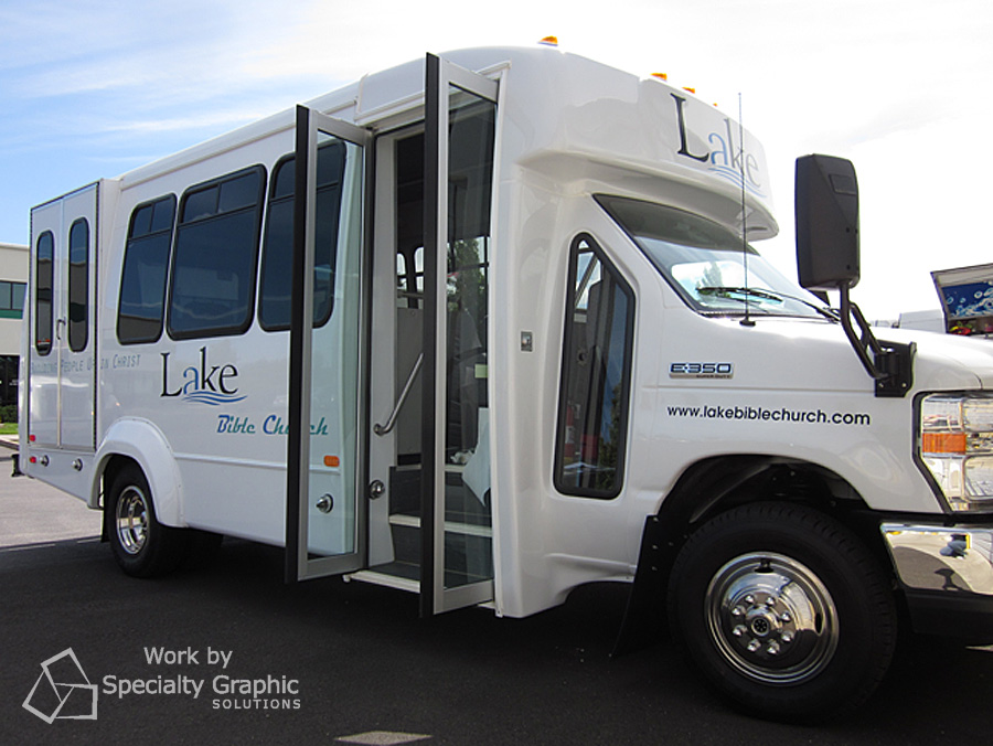 Bus lettering for Lake Bible Church.