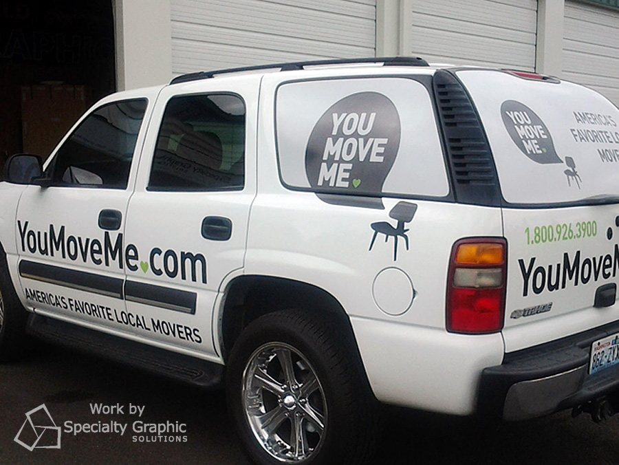Vehicle lettering and perforated graphics for You Move Me.