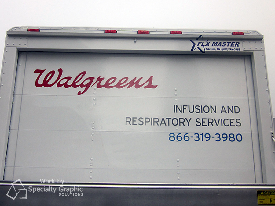 Letter on box truck for Walgreens.