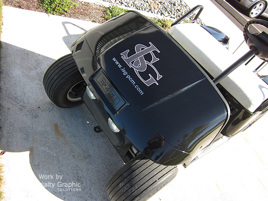 Company logo on golf cart for ISG.