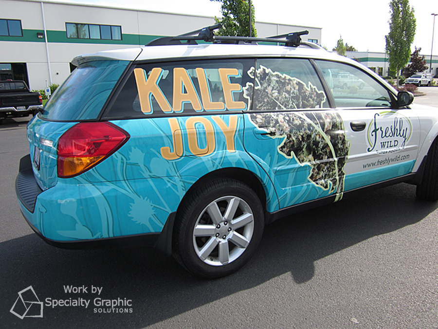 Full vehicle wrap on Subaru for Freshly Wild.