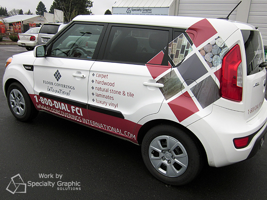 Partial wrap on Kia Soul for Floor Coverings International.