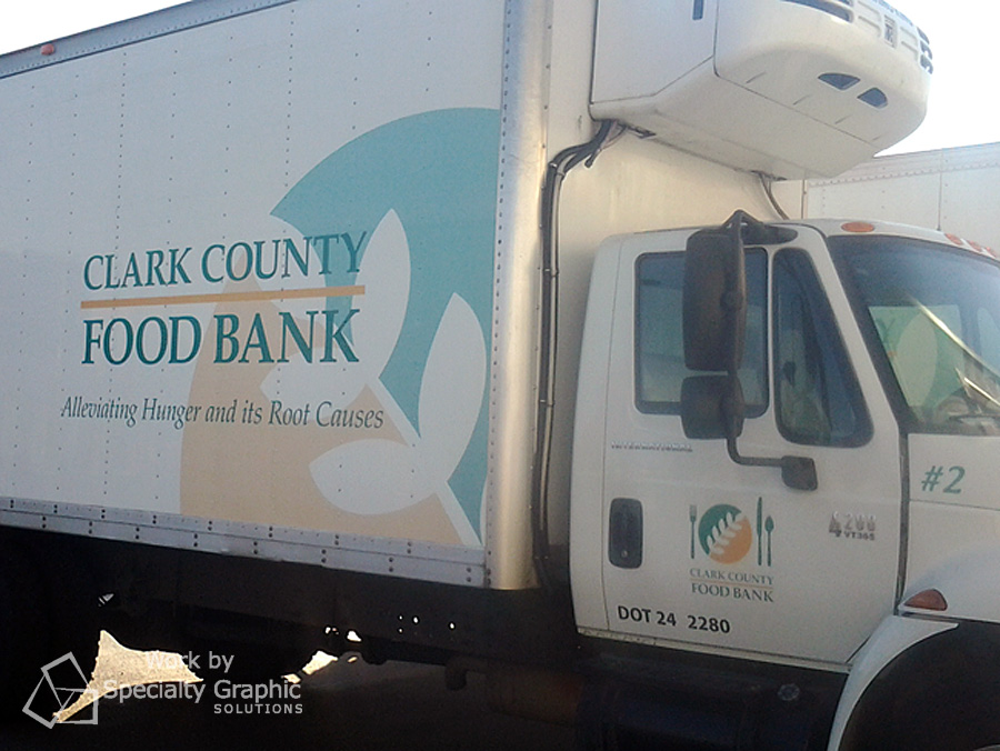 Partial wrap fleet graphics on box truck for Clark County Food Bank