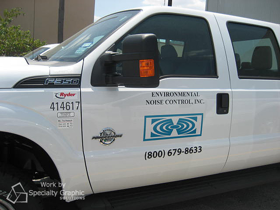 Truck door lettering and logo for Environmental Noise Control fleet.