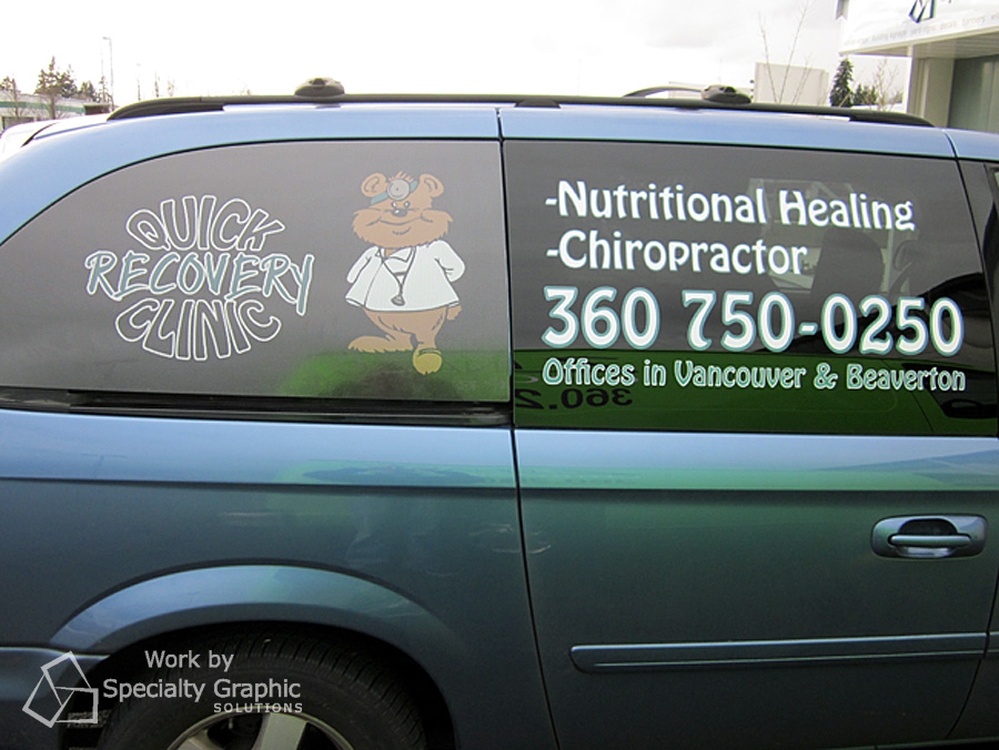 Perforated window graphics for Quick Recovery Clinic.
