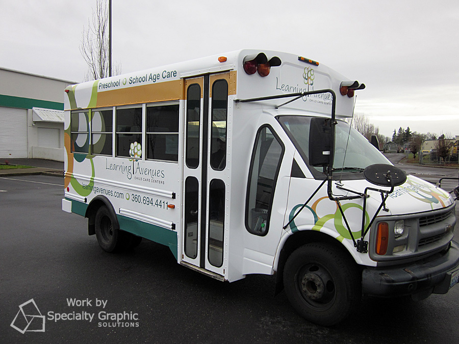 Full bus wrap for Learning Avenues.