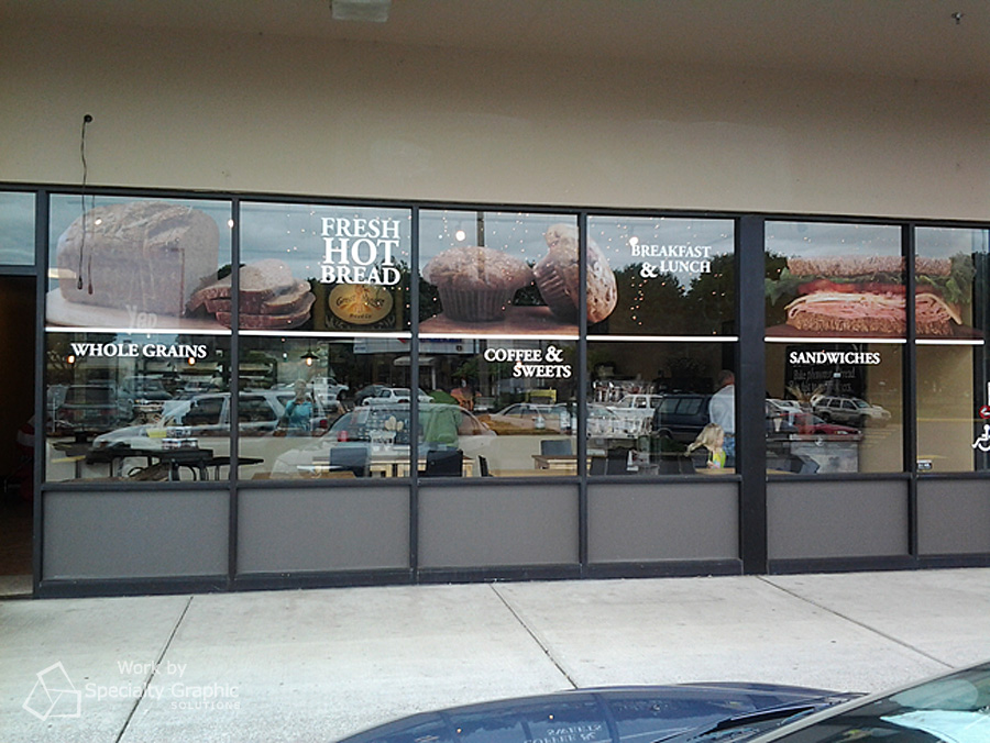 Perforated window graphics for Great Harvest.