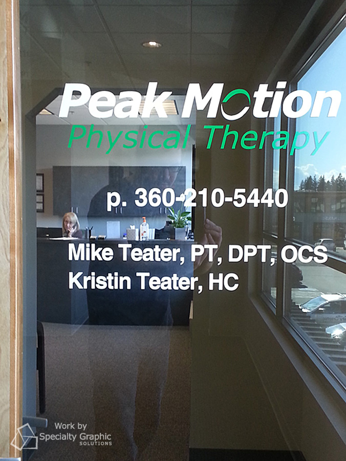 Office logo and lettering for Peak Motion Physical Therapy.