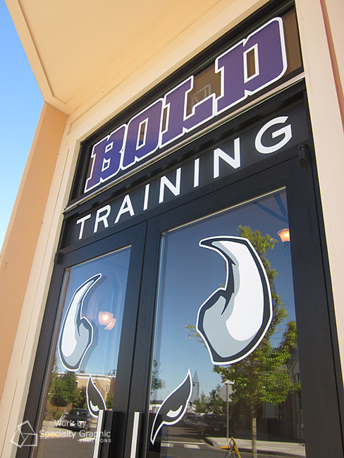 Logo on entrance doors for Bold Training.