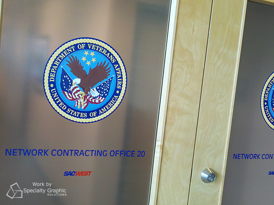 Privacy frost and logo for Veteran's Affairs office doors.