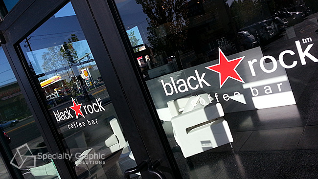 Logo and door lettering on glass for Black Rock Coffee Bar.