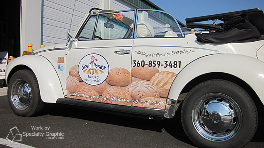 Partial wrap on Volkswagen Beetle for Great Harvest.