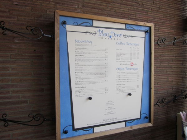 outdoor menu printed on canvas, bleu door baker vancouver washington