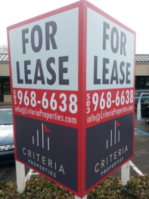 commercial real estate sign, criteria properties, portland oregon