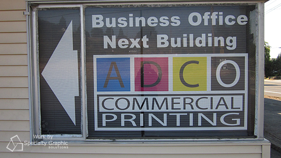 Perforated window logo graphics for ADCO.
