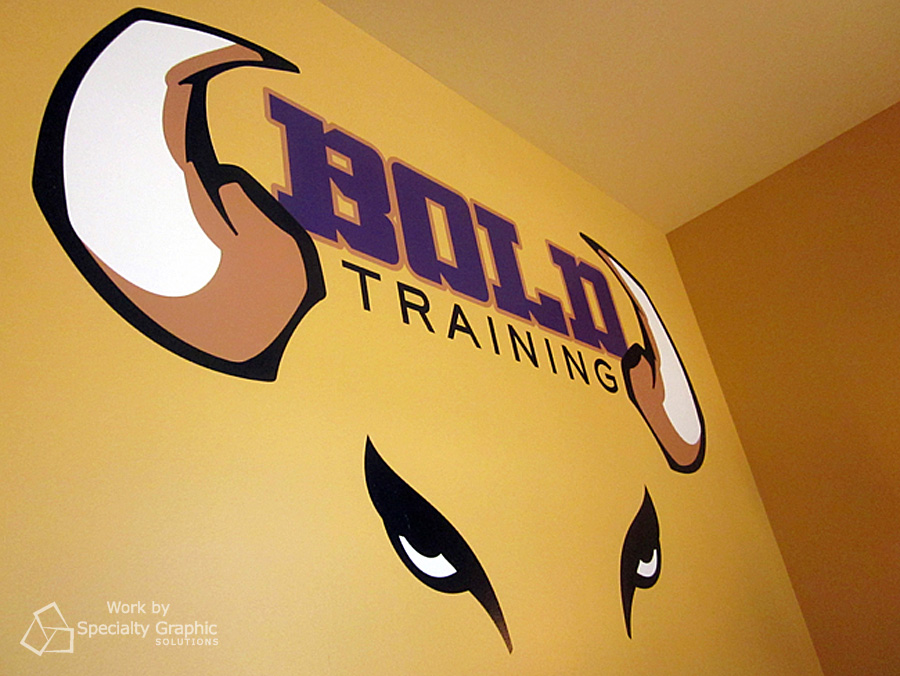 Logo and wall lettering.