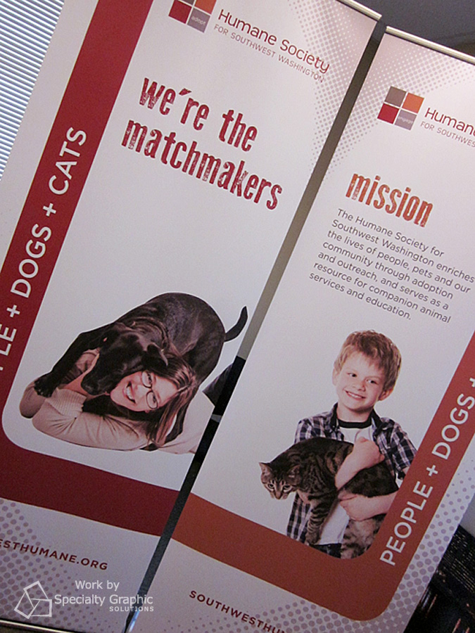 Promotional retractable banners.