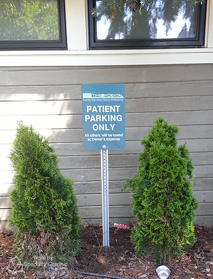Patient parking sign.