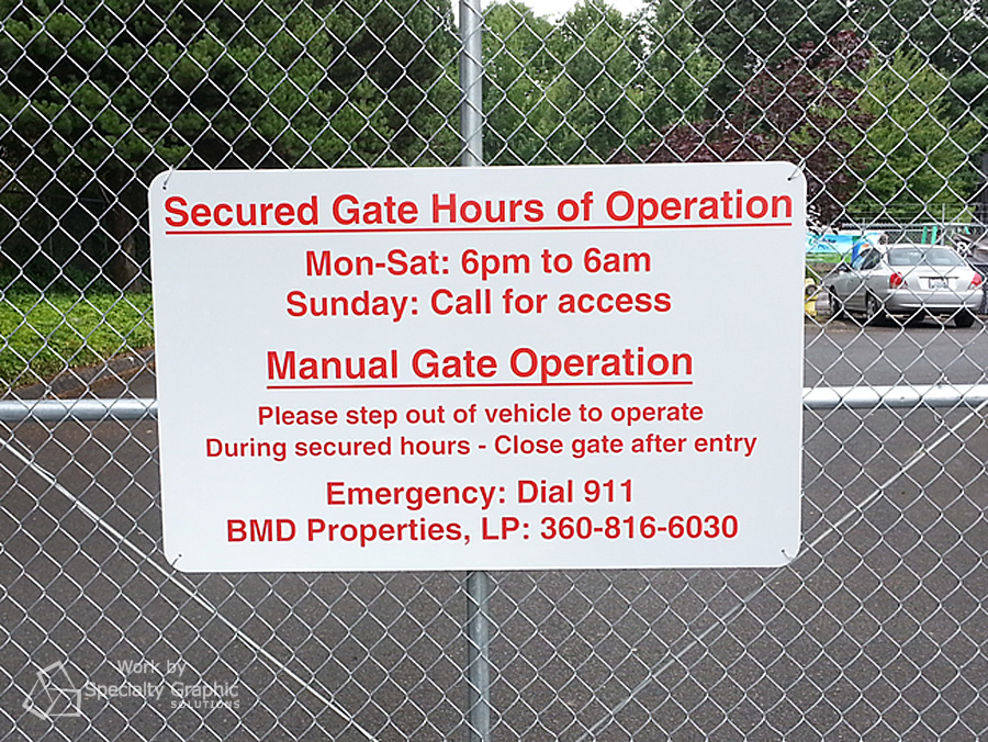 reflective parking sign on gate.jpg