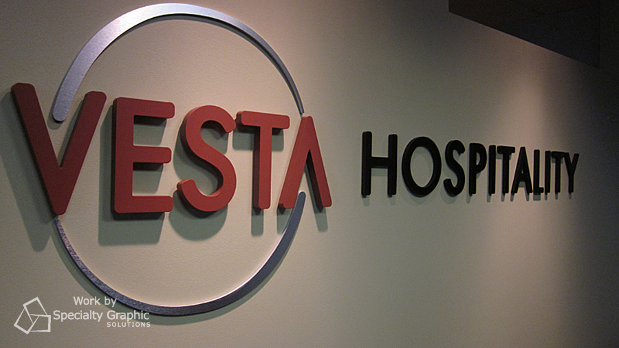 Dimensional logo sign for Vesta Hospitality.