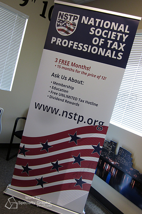 The National Society of Tax Professionals' banner stand is the EZ version of trade show displays!