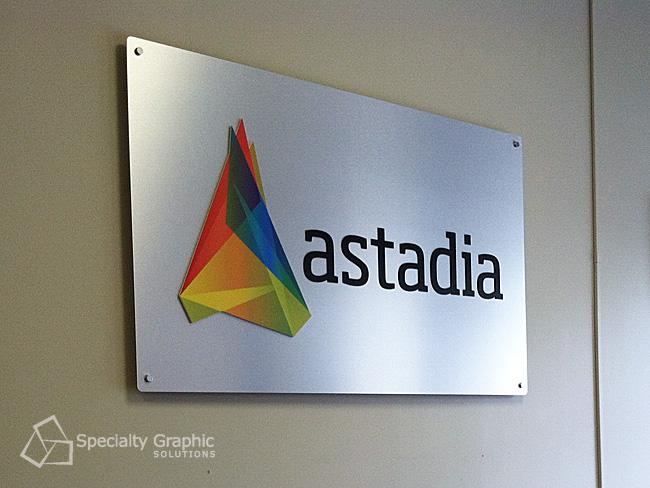 Astadia aluminum lobby sign