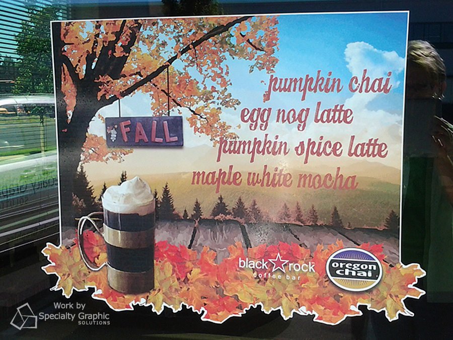 Black Rock Coffee uses window clings to promote seasons drinks and keep their customers current on specials.