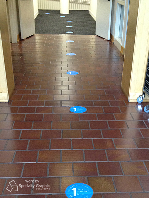 These bright blue spots catch attention and lead the way to the IT department location.