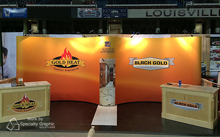 Aries Engineering uses lighting to warm up their booth to make it inviting and promote their heated floors for RVs.