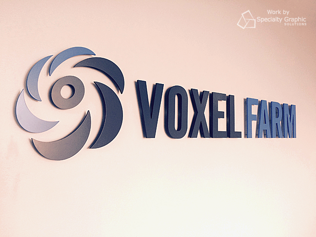 Dimensional letter lobby sign for Voxel Farm in Montreal, Quebec.