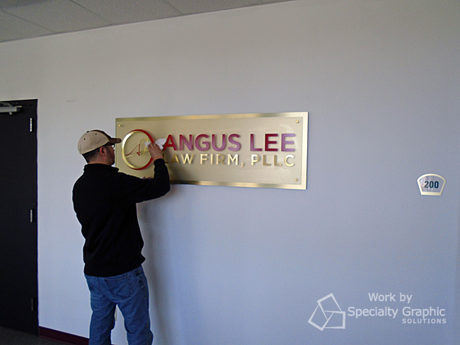 Installing a lobby sign in Vancouve WA