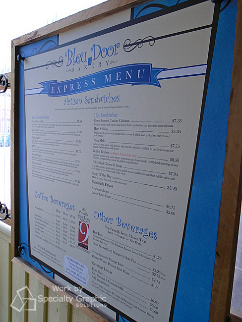 Menu board signs for Restaurants in Vancouver WA