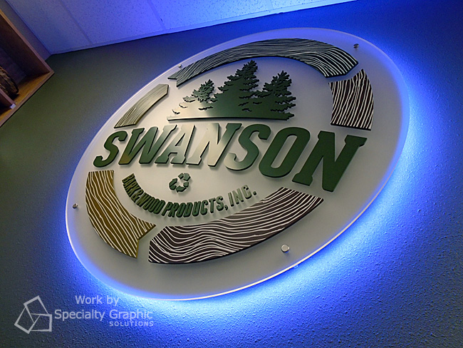 Halo lit lobby sign for Swanson Bark & Wood Products in Longview WA.jpg