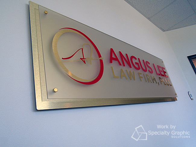 Lobby sign for Angus Lee Law Firm in Vancouver, Wa.jpg