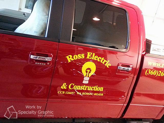 Truck vinyl lettering for contractors in Portland OR
