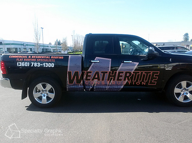 Contractor truck decals and spot graphics Portland OR