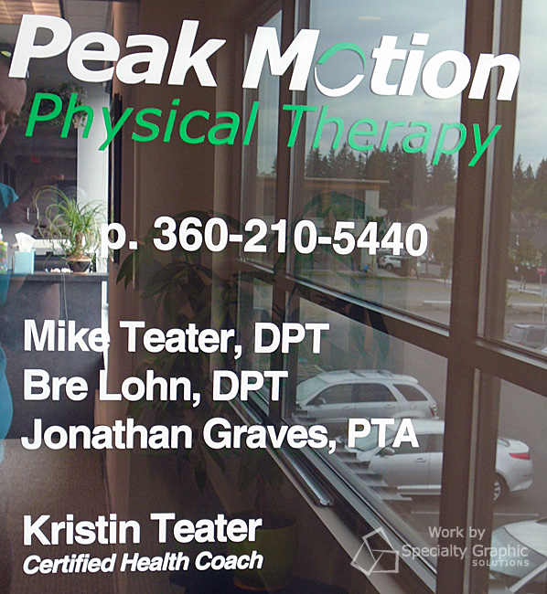 Front entrance graphics for Peak Motion Physical Therapy in Vancouver WA.jpg