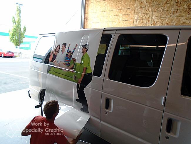 Van wrap installation Vancouver WA