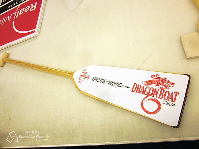 Dragon Boat Paddle Awards with Vinyl Graphics