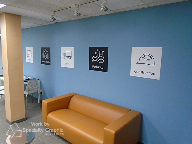 Custom Wall Graphics make it clear what industries Evosus serves.jpg