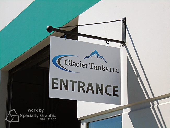 Hanging blade sign marks the will call entrance for Glacier Tanks of Vancouver WA.jpg