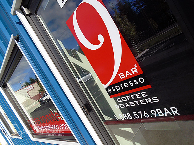 Window graphics for coffee bars in Vancouver WA