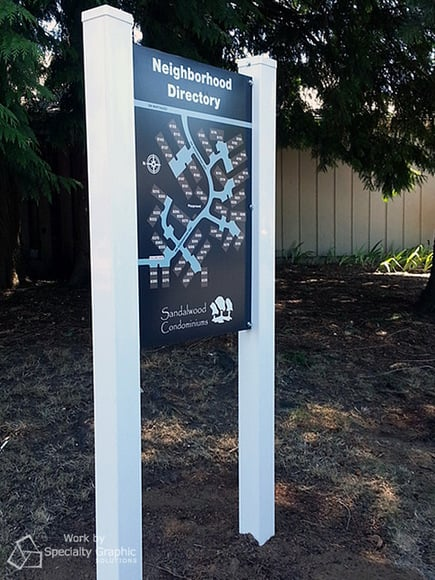 Directory post and panel signs Portland OR