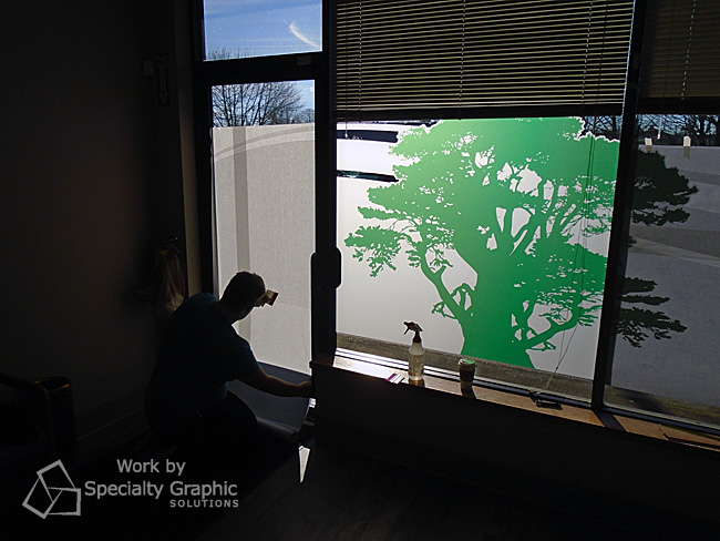 Frosted Vinyl Window Graphics Woodland WA