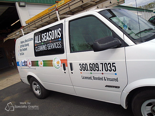 Vinyl graphics add professionalism and pizazz to a plain white van in Vancouver WA.jpg